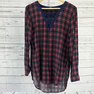 Entro blue green red plaid lace up hi lo tunic top